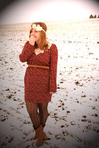 modcloth dress - Urban Outfitters tights - Ross boots - Goodwill belt - Forever