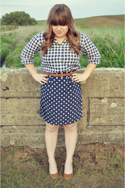 polka dot francesscas collections skirt - gingham Jcrew blouse