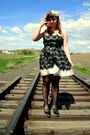 White-f21-dress-black-urban-outfitters-tights-michael-kors-shoes-headband-