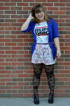 ae cardigan - run shirt - H&M garden collection shorts - Forever 21 tights - kma