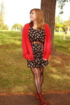 delias cardigan - thrifted dress - Urban Outfitters tights - thrifted boots - mo