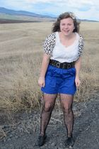 deb skirt - f21 sweater - delias belt - Wetseal blouse - urbanoutfitters tights