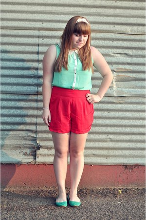 red Urban Outfitters shorts - turquoise Urban Outfitters shoes