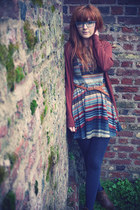 navy Republic dress - teal tights - tawny Oasis cardigan