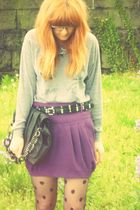 silver Illustrated People sweater - purple River Island skirt - black Topshop st