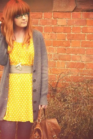 yellow H&amp;M dress - dark brown Matalan bag - light brown Primark cardigan