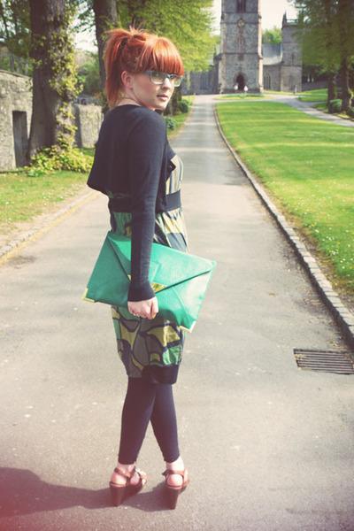 green mado dress - dark gray H&M cardigan - brown M&S wedges