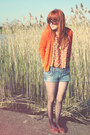 Blue-river-island-shorts-tawny-topshop-vest-carrot-orange-zara-cardigan