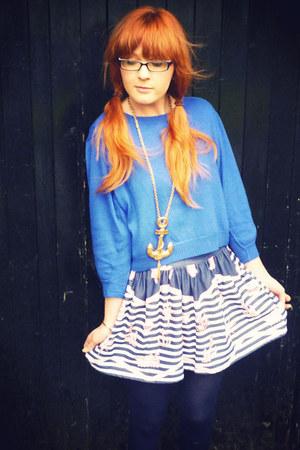 blue asos jumper - blue skirt - gold River Island necklace