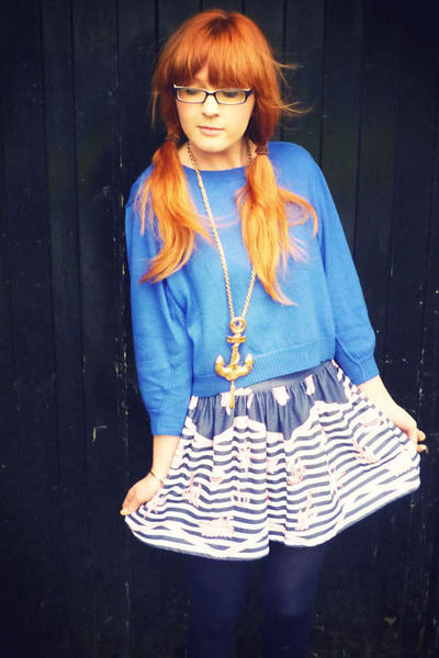 blue asos jumper - blue skirt - gold River Island necklace