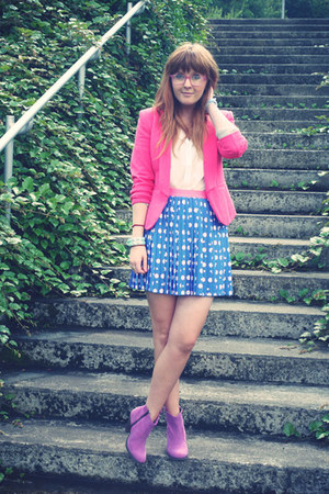sky blue River Island skirt - magenta asos boots - hot pink H&M blazer