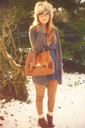 light brown Primark cardigan - navy Topshop top - bronze M&S leggings