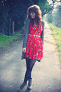 Camel-new-look-boots-red-in-love-with-fashion-dress-dark-khaki-mado-cardigan