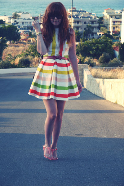 light orange Primark sandals - white asos dress - coral Miss Selfridge belt