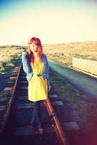 yellow H&M dress - blue Topshop jacket - brown asos flats