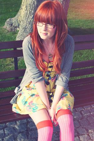 yellow asos dress - bubble gum asos socks - heather gray H&M cardigan