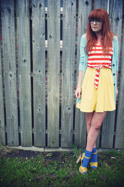 blue socks - yellow sandals - aquamarine Matalan cardigan - carrot orange Matala