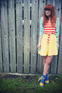 Blue-socks-yellow-sandals-aquamarine-matalan-cardigan-carrot-orange-matala