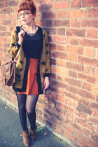 dark brown Sugarhill Btq cardigan - bronze M&S boots - black Bellissima top