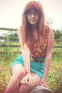 Brown-m-s-boots-burnt-orange-topshop-vest-turquoise-blue-asos-skirt