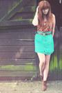 Brown-m-s-boots-turquoise-blue-asos-skirt-burnt-orange-topshop-vest