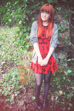 red Motel dress - black River Island boots - gray Topman cardigan