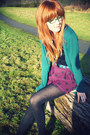 Maroon-h-m-shorts-teal-topshop-cardigan-black-tatty-devine-necklace