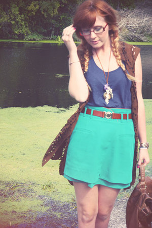 turquoise blue asos skirt - navy H&amp;M top - brown vest
