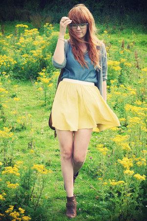 light yellow Topshop skirt - bronze Marks and Spencer boots