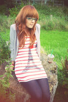 red courtesy of Matalan dress - black M&S leggings - gray River Island blazer -