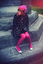black caty lesca coat - pink Topshop tights - black Topshop shoes