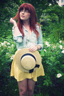 Camel-primark-hat-sky-blue-river-island-shirt-yellow-topshop-skirt