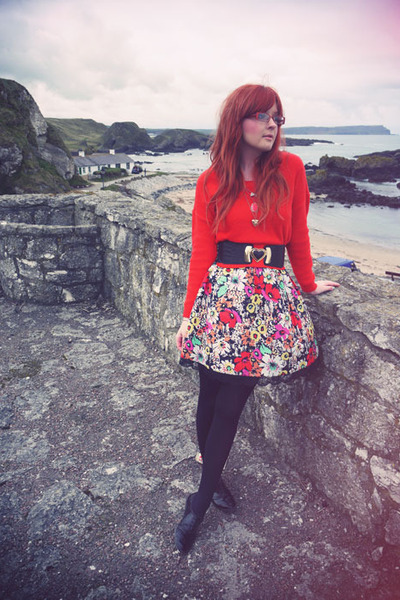 black Matalan dress - carrot orange H&M sweater