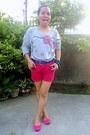 Hot-pink-shorts-hot-pink-bow-solemate-flats