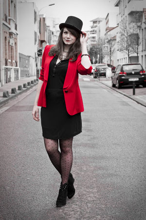 red Givenchy jacket - black Zadig&Voltaire dress