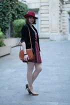 brick red Zara dress - burnt orange vintage bag - navy vintage vest