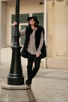 black Rene Derhy jacket - black H&M leggings - camel Zara blouse