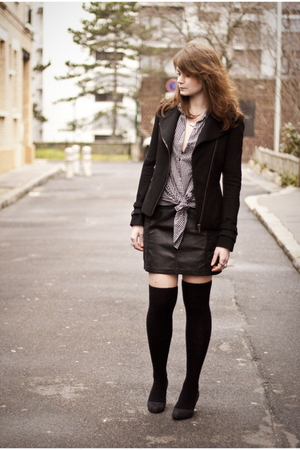 black Zara jacket - black H&M skirt - gray vintage shirt