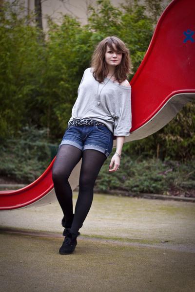 blue H&M shorts - gray H&M sweater - black vintage shoes