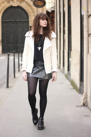 beige Sheinside coat - gray frontrow skirt