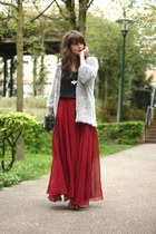 ruby red Sheinside skirt - heather gray OASAP cardigan