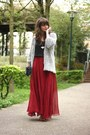 Heather-gray-oasap-cardigan-ruby-red-sheinside-skirt