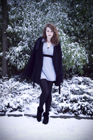 blue By Zoe dress - black Mai Melissa cardigan - black vintage shoes