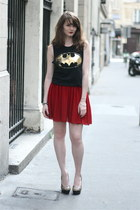 black Newlook top - ruby red American Apparel skirt - black manie heels