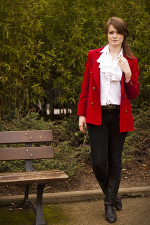 red vintage blazer - white vintage shirt - black Uniqlo pants - black vintage bo