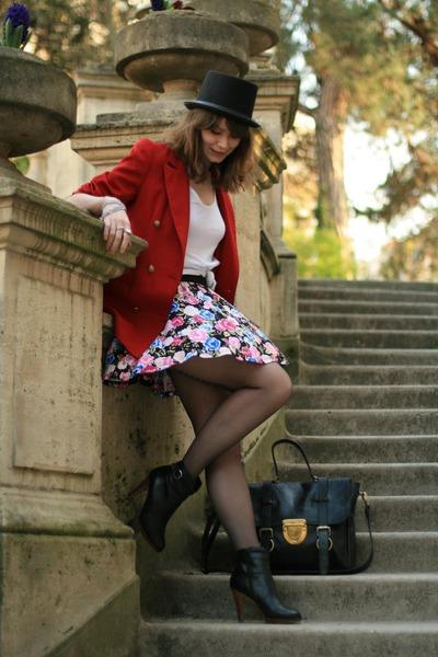 red vintage blazer - pink H&M skirt - black ANDRE boots