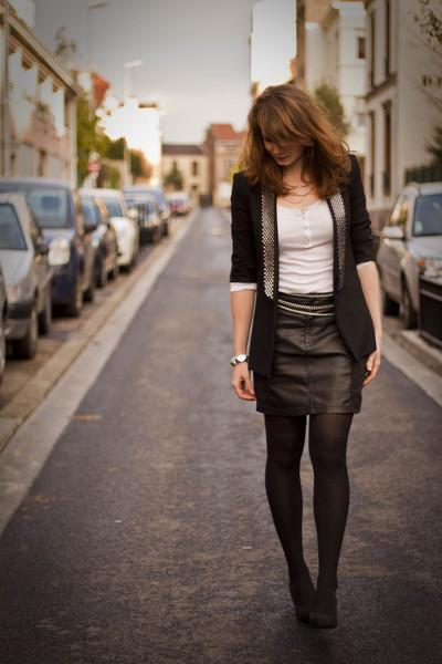 black H&M skirt - black Zara blazer - white Petit Bateau top