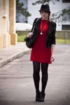 red vintage dress - black Zara jacket