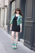 green Sheinside jacket - black Tati dress