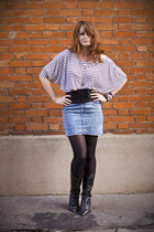 white H&M skirt - H&M blouse - black vintage belt - vintage shoes